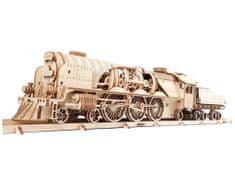 UGEARS 3D mechanické puzzle Lokomotiva V-Express s vagónem 538 ks