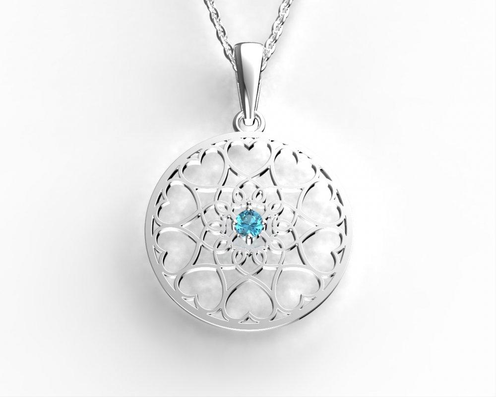 Jewstone Stříbrný přívěsek Mandala - Květ života