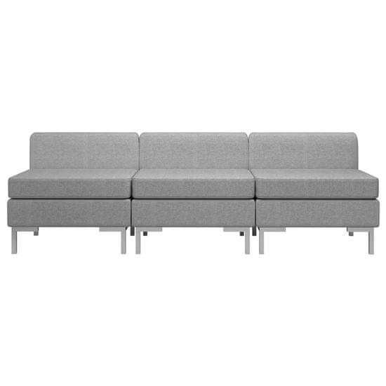 shumee Sekcijski sredinski kavči 3 kosi z blazinami blago svetlo sivi
