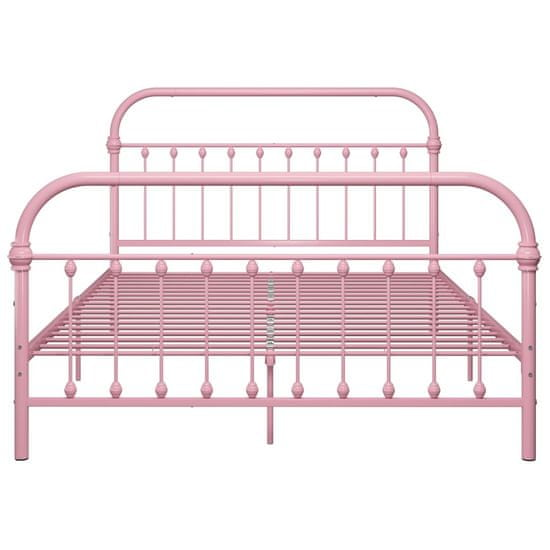 shumee rózsaszín fém ágykeret 120 x 200 cm