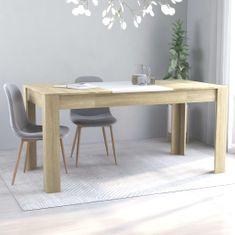 shumee Jedilna miza bela in sonoma hrast 160x80x76 cm iverna plošča