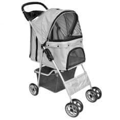 shumee Zložljiv voziček za pse/mačke potovalni transporter siv