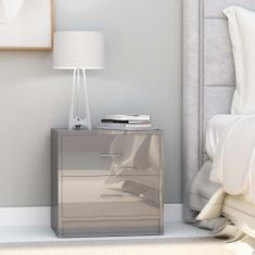 shumee Nočné stolíky 2 ks, lesklé sivé 40x30x40 cm, drevotrieska