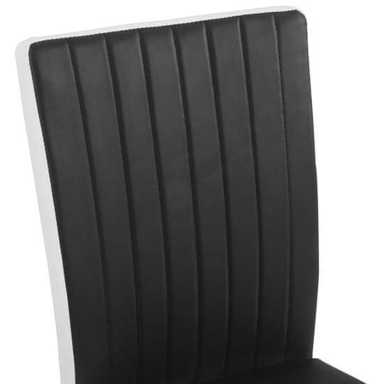 shumee Jedálenské stoličky, perová kostra 6 ks, čierne, umelá koža