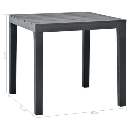 shumee Vrtna miza antracitna 78x78x72 cm plastika