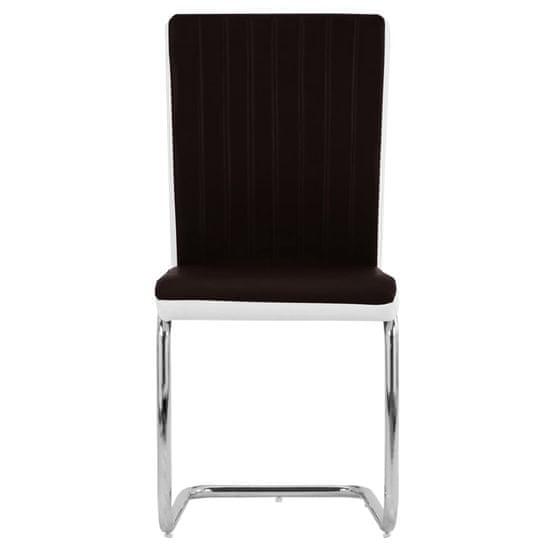 shumee Jedálenské stoličky, perová kostra 6 ks, hnedé, umelá koža