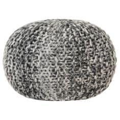 shumee Puf, ręcznie dziergany, ciemnoszary, 50x35 cm, materiał