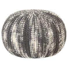 shumee Puf, ręcznie dziergany, ciemnoszary i biały, 50x35 cm, wełna
