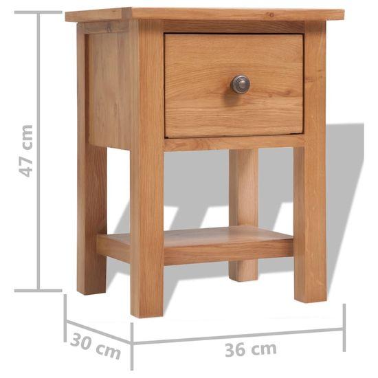 shumee Nočna omarica 2 kosa 36x30x47 cm trdna hrastovina