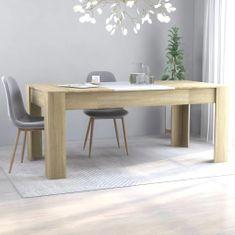 shumee Jedilna miza bela in sonoma hrast 180x90x76 cm iverna plošča