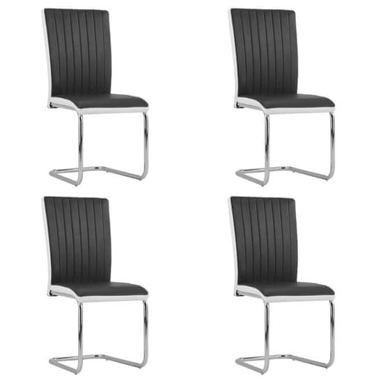 shumee Krzesła stołowe, wspornikowe, 4 szt., czarne, sztuczna skóra