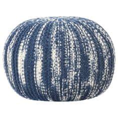 shumee Puf, ręcznie dziergany, niebiesko-biały, 50x35 cm, wełna