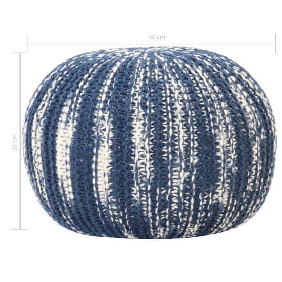 shumee kézzel kötött kék és fehér gyapjúpuff 50 x 35 cm