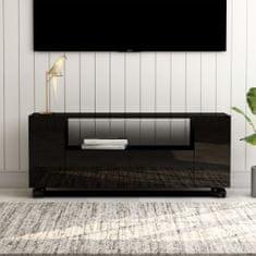 shumee TV stolek černý s vysokým leskem 120 x 35 x 43 cm dřevotříska