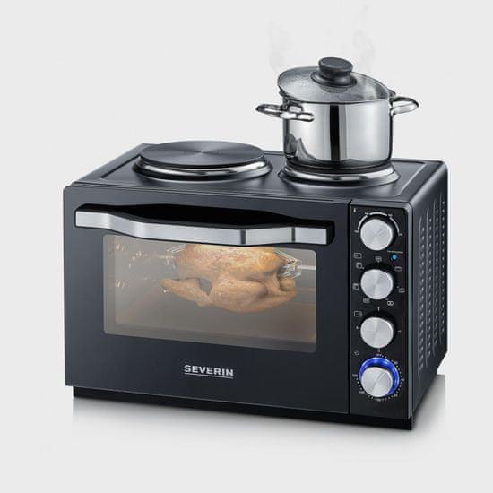Severin TO 2065 mini pečica z dvema kuhalnima ploščama