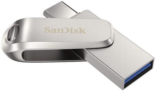 SanDisk Ultra Dual Drive Luxe USB ključek, 64 GB, srebrn