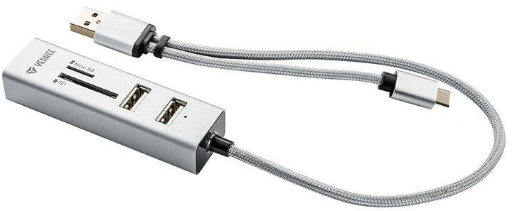 Yenkee USB C OTG HUB + čtečka YHC 103 SR