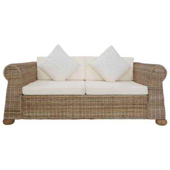 shumee kétszemélyes természetes rattan kanapé párnákkal