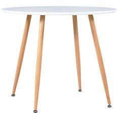 shumee Jedilna miza bela in barva hrasta 90x73,5 cm mediapan
