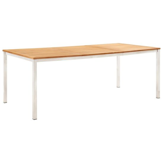 Vidaxl Zahradní jídelní stůl 200x100x75cm masivní teak a nerezová ocel