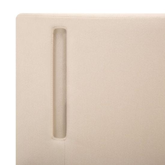 shumee Posteljni okvir LED krem in temno sivo blago 90x200 cm
