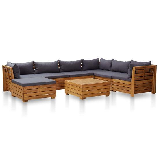 shumee 8-cz. zestaw mebli ogrodowych z poduszkami, akacja, ciemnoszary