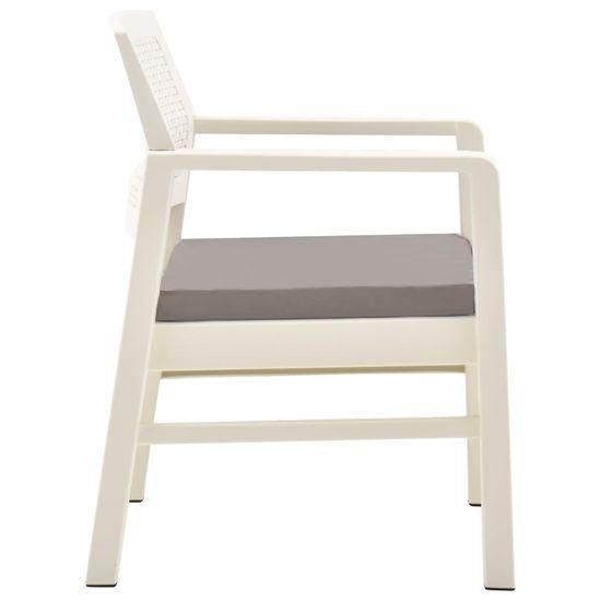 shumee Vrtna sedežna garnitura 3-delna plastika bela