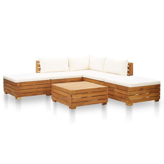 shumee 6-cz. zestaw mebli ogrodowych z poduszkami, akacjowy, kremowy