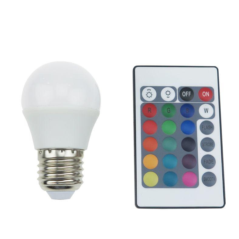 Diolamp SMD LED žárovka matná Ball P45 4W/230V/E27/RGB+3000K/300Lm/180°/Dim/A+/dálkový ovladač