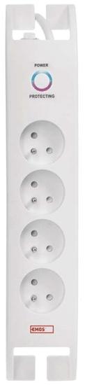 EMOS Listwa przeciwprzepięciowa 900J – 4 gniazda, 2 m, biała (1909040200)