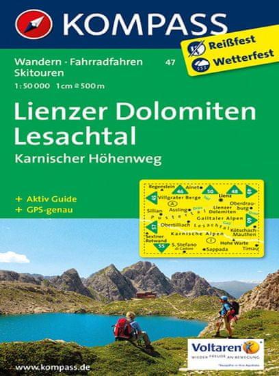 World Maps KOMPASS 47 Lienzer Dolomiten, Lesachtal 1:50t turistická mapa
