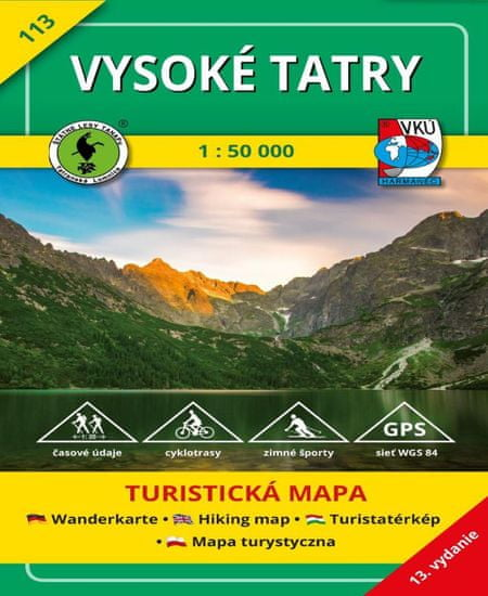 World Maps VKU113 Vysoké Tatry 1:50t turistická mapa VKÚ Harmanec / 2017