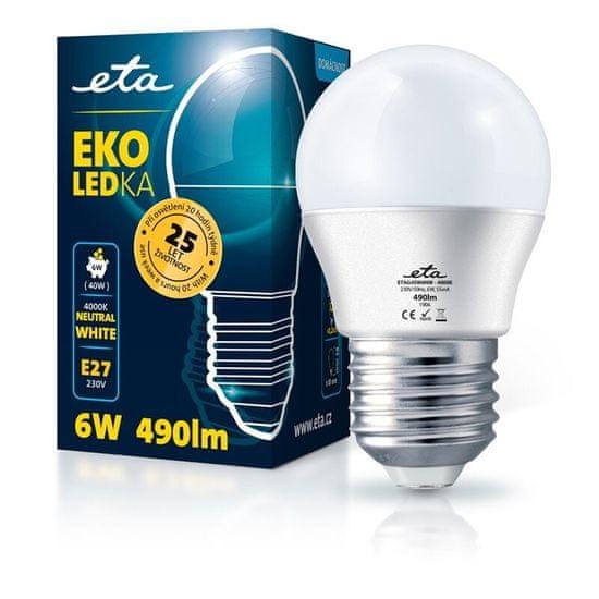 ETA LED žarnica, G45, E27, 6 W, nevtralno bela