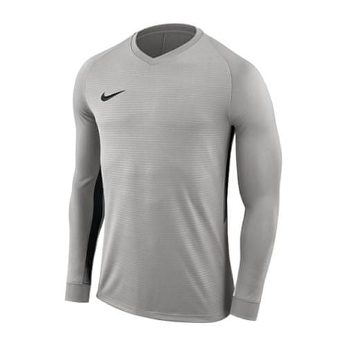 Nike Y NK DRY TIEMPO PREM JSY LS, 10.   FABOTBALL / FOCCER   YOUTH UNISEX Hosszú ujjú felső   TM PEWTER / TM PEWTER / FEKETE / BLAC   VAL VEL