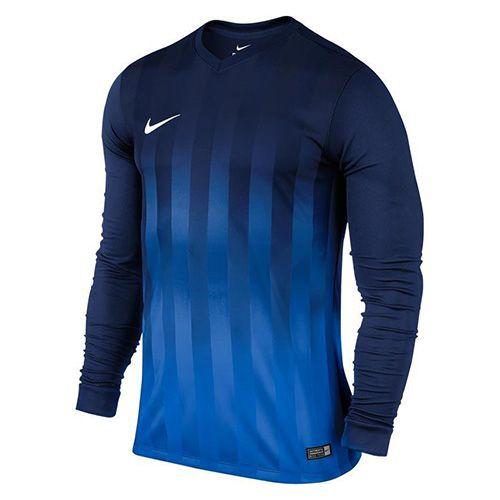 Nike LS YTH STRIPED ODDELEK II JSY, 10 | FOOTBALL / SOCCER | MLADI UNISEX DOLG SLEEVE TOP | SREDNJI NAVY / ROYAL BLUE / WHITE | XS