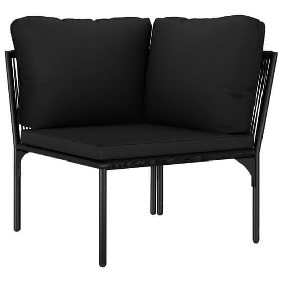 Petromila 6-dielna záhradná sedacia súprava s podložkami, čierna, PVC