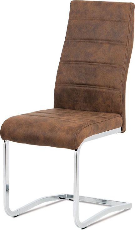 """ART Jídelní židle, látka """"COWBOY"""" hnědá, chrom DCH-451 BR3 Art"""