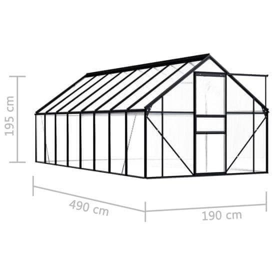 shumee Skleník antracitový hliníkový 9,31 m²