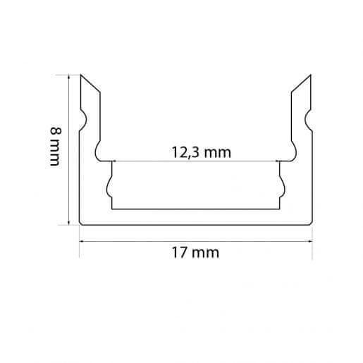 PHENOM Set 5x 1m ALU profil mat + LED trak 9,6W/m 6000K 5m + napajalnik 60W + priključna vrvica