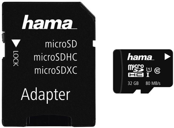 Hama microSDHC 32 GB Class 10 UHS-I + SD adaptér (124139)