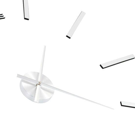 shumee 3D stenska ura moderna 100 cm XXL srebrna