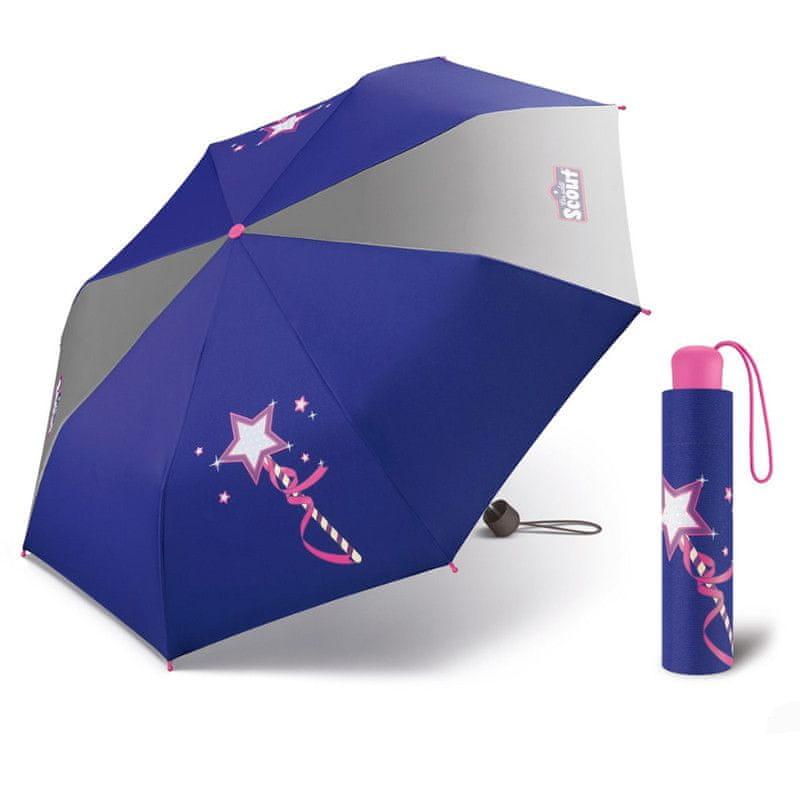 Scout MAGIC WAND dětský skládací deštník kouzelná hůlka Barva: Fialová
