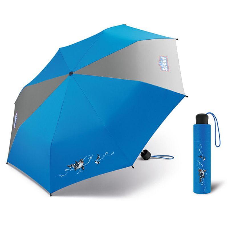 Scout Big Orca dětský skládací deštník s kosatkou Barva: Modrá