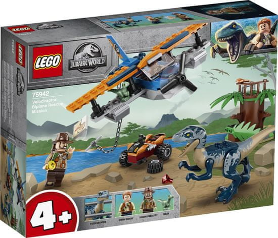 LEGO Jurassic World 75942 Velociraptor: Reševalna misija z dvokrilnikom