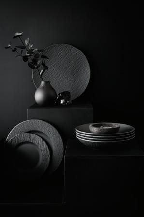 Villeroy & Boch plitvi krožnik, 27 cm, črn