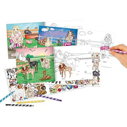 Miss Melody Kifestőkönyv, kreatív készlet ASST, Haszonállatok, 210 matrica