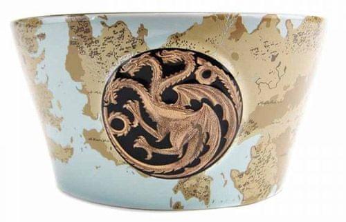 CurePink Velka kKeramická miska Game Of Thrones|Hra o trůny: Targaryen Plaque & Map (objem 700 ml|16 x 8 cm)