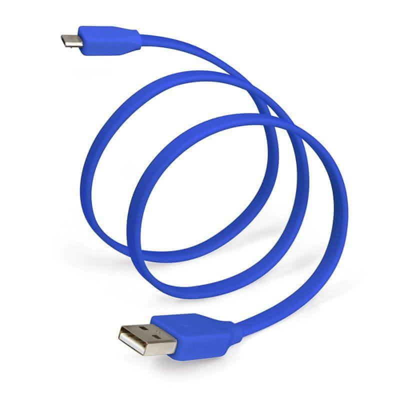 TYLT plochý kabel s konektorem USB a micro USB SYNCABLE - GEN II (1m) modrá