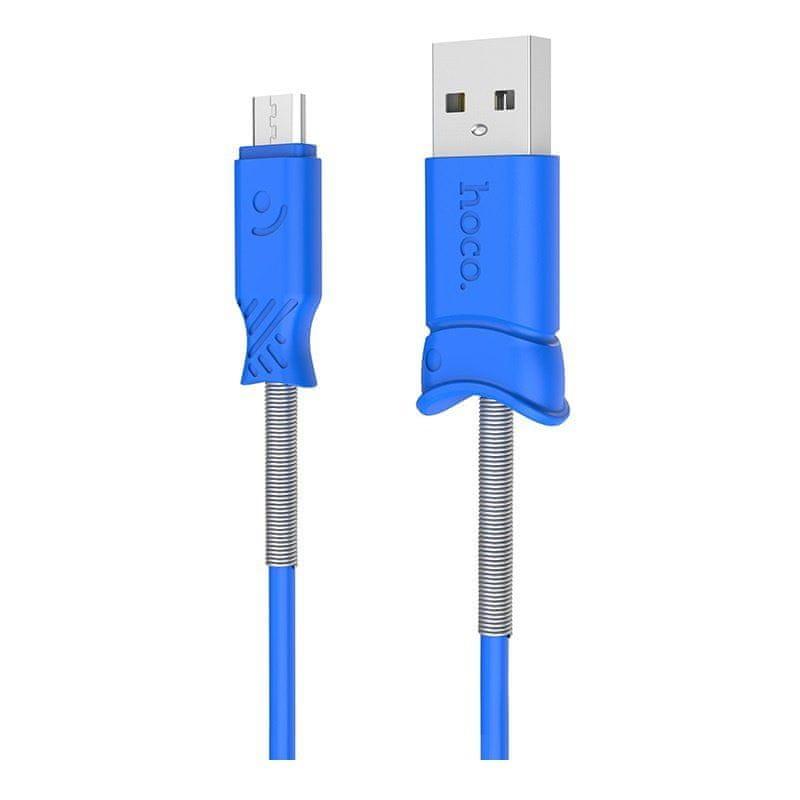 Hoco nabíjecí a datový kabel micro USB Pisces 1m modrá