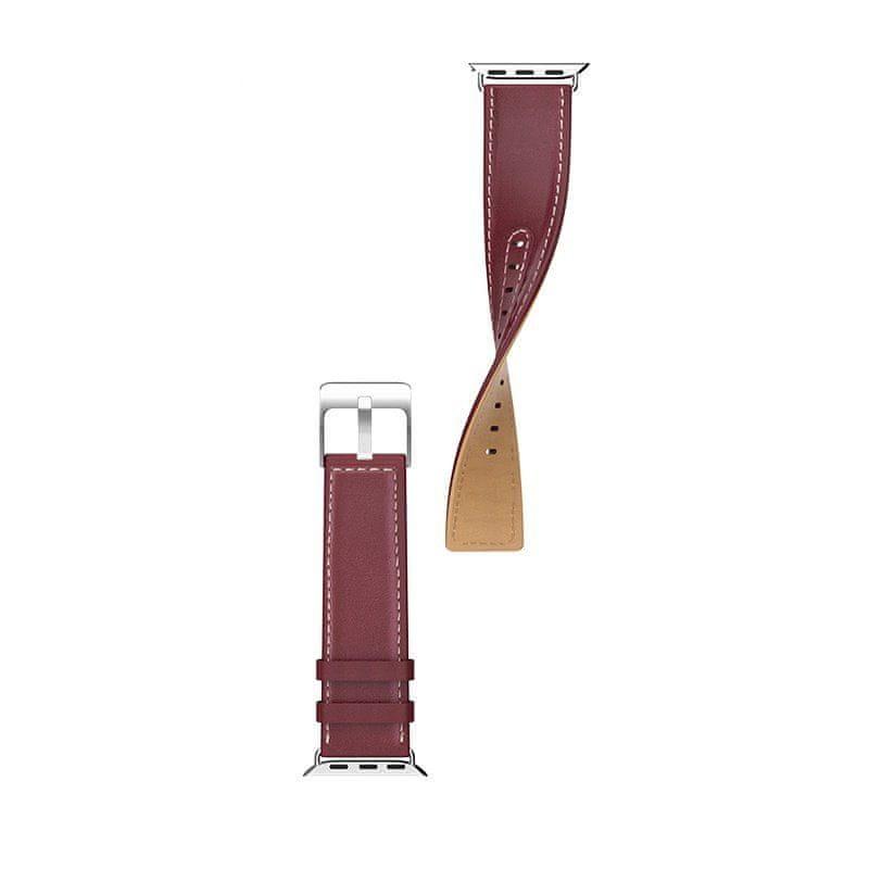 Hoco kožený řemínek pro Apple Watch 4 (44mm) Duke Series vínová
